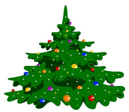 illustration of christmas tree cartoon style Vector