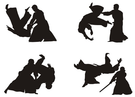 aikido: Demonstration of aikido skills and techniques Illustration