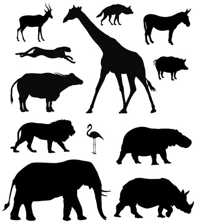 silhouettes: various african animals