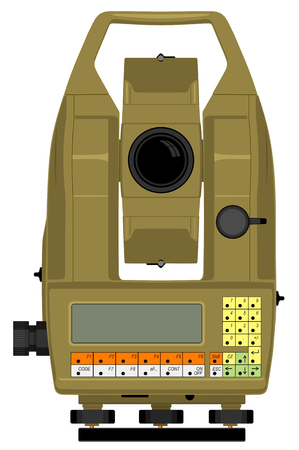 leveling: digital geodetical instrument for precise angles and distance measurement Illustration