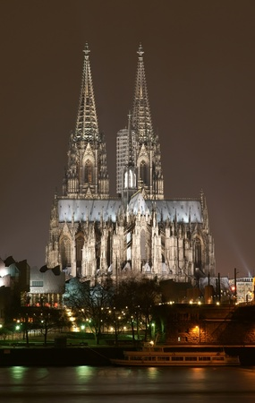 cologne: Cologne cathedral at night scene Stock Photo