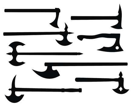 battle: Abstract vector illustration of battle axes silhouettes