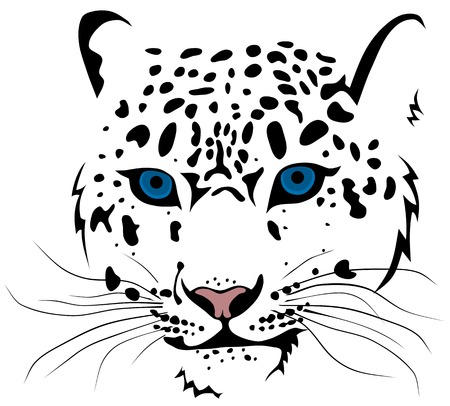 Abstract vector illustration of snow leopard bars Çizim