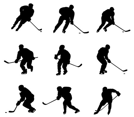 hockey players: Abstract vector illustration of hockey player silhouette