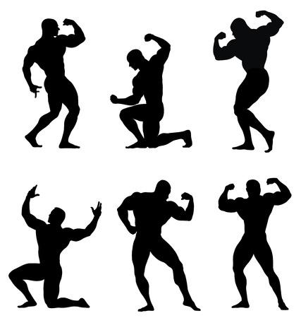 hombre fuerte: Ilustración vectorial abstracta de culturista