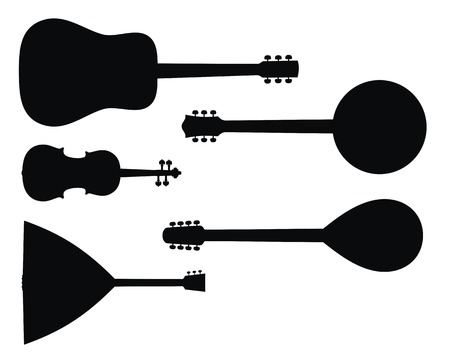Abstract vector illustration of string music instruments silhouettes Çizim