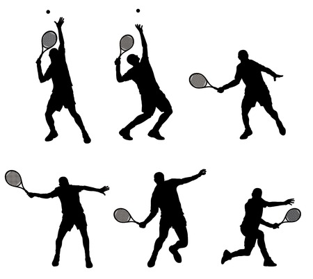 Abstract vector illustration of tennis player silhouette Çizim