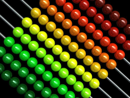 compute: 3d render of an abacus with colorful balls