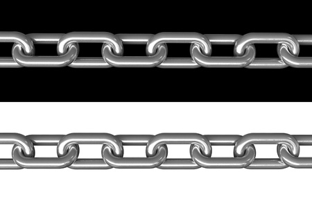 shackle: 3d render of metal chains over black and white background Stock Photo