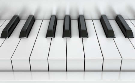 synthesizer: 3d render of piano keys