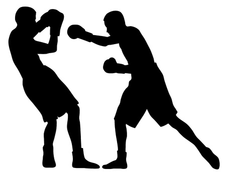 people fighting: Abstract vector illustration of boxing men silhouettes