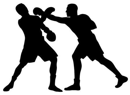 peleando: Ilustraci�n vectorial abstracta de boxeo siluetas de hombres