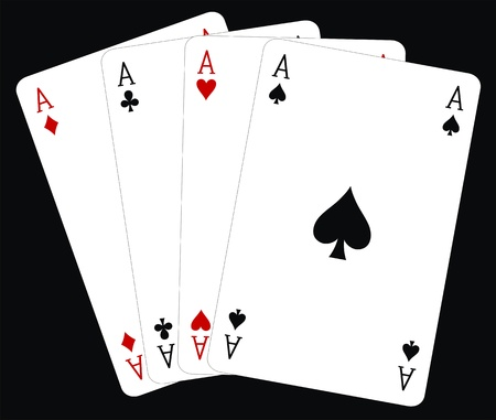 ace of clubs: Vector illustration of four of a kind aces