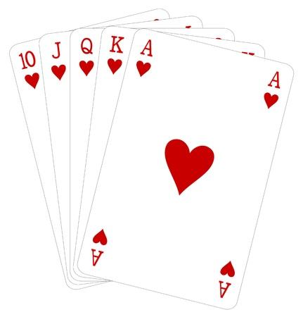 Vector illustration of royal flush hand hearts