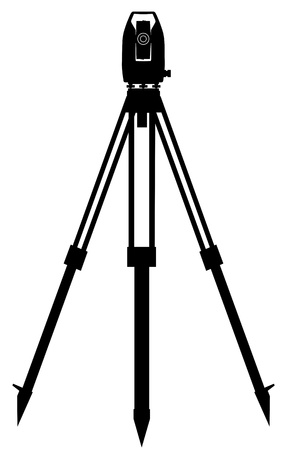 정확한 각도와 거리 측정 용 디지털 기기 측지 일러스트