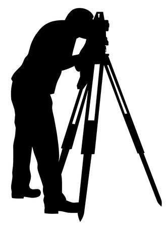 teodolito: Ilustración vectorial abstracta de silueta de tierra surveyor Vectores