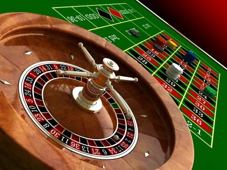 casino table: 3d render of casino roulette and chips Stock Photo