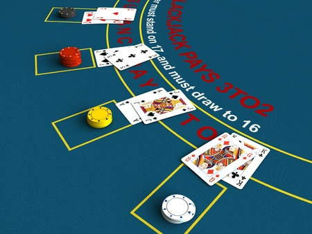 3d render of blackjack table scene Stock Photo