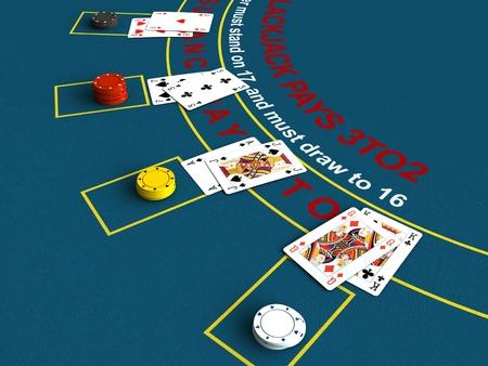 3D rendering di scena tavolo del blackjack