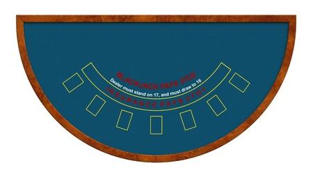 Tavolo del Blackjack isolato su sfondo bianco Archivio Fotografico
