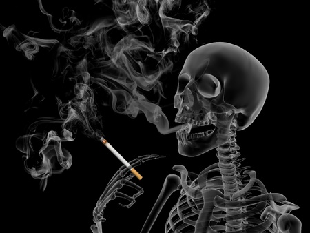 cigarette smoke: Conceptual 3d render the effects of nicotine smoking