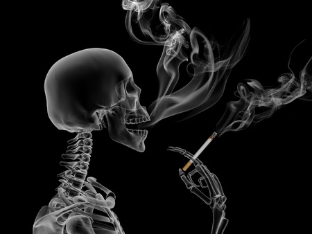 danger: Conceptual 3d render the effects of nicotine smoking