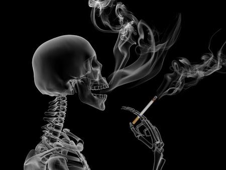 danger: Concettuale 3d rendering gli effetti del fumo di nicotina