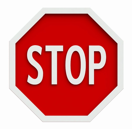 stop sign: 3d render of traffic stop sign isolated on white
