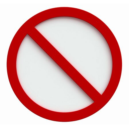 abstain: 3d render of forbidden sign isolated on white