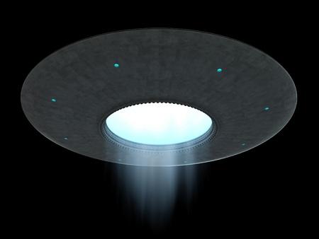 검정 배경 위에 접시 UFO 비행의 3D 렌더링