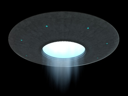 platillo volador: render 3D de OVNI platillo volador sobre fondo negro