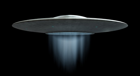 3d render of flying saucer ufo over black background photo
