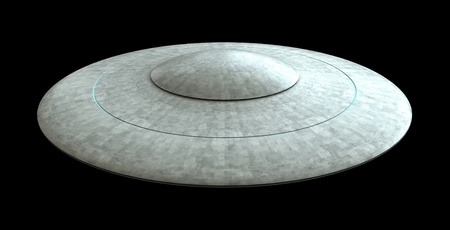 3d render of flying saucer ufo isolated over black background