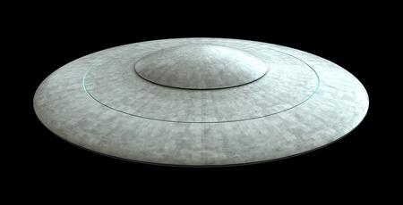 platillo volador: render 3D de platillo volador que OVNI aisladas sobre fondo negro