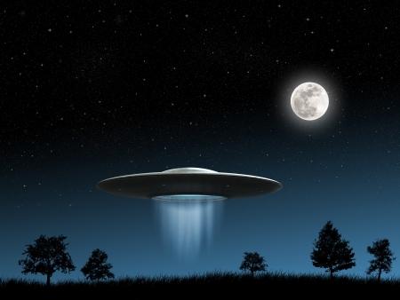 밤 배경에 비행 접시의 UFO의 3D 렌더링