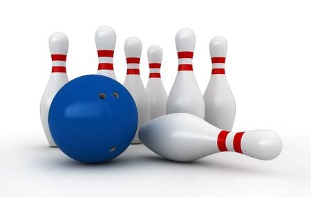 quille de bowling: Rendu 3d de quilles et la boule sur fond blanc