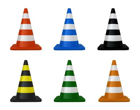 traffic cone: 3d render of traffic cones over white background