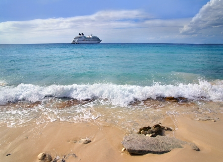 A cruise ship at anchor in the Caribbean          photo