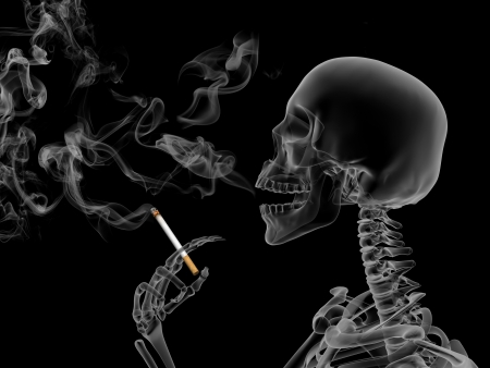 unwholesome: Conceptual 3d render the effects of nicotine smoking