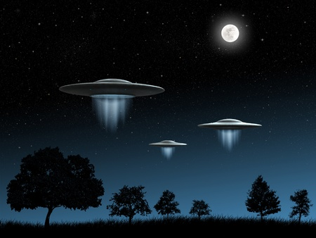 3d render of flying saucers ufo on night background photo