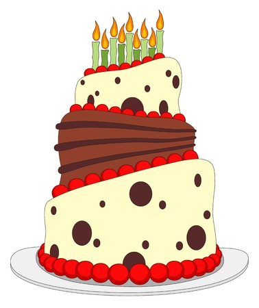 Vector illustration of Birthday cake cartoon style Vector