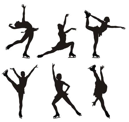 schaatsen: illustratie van schaatsen vrouwen silhouetten Stock Illustratie