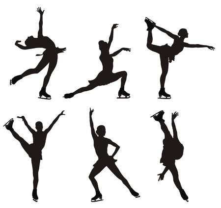 human figures: illustration of skating women silhouettes