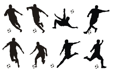 illustration of soccer players silhouettes Vector
