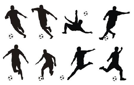 jugadores de soccer: ilustraci�n de los jugadores de f�tbol siluetas