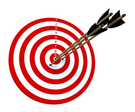 Three arrows hitting the center of target Stock Photo