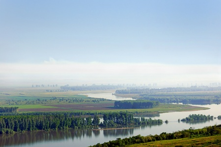 floatable: Danube river. Left side coast is Romanian territory and right side coast is Bulagrian territory Stock Photo
