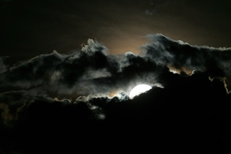 Full moon and clouds on night sky                                photo