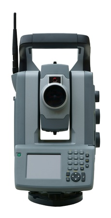 polar station: Geodetic angle and distance measuring instrument total station Stock Photo
