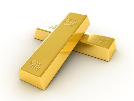 Gold bullions on white background photo